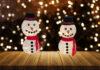 Garn snemand med lys